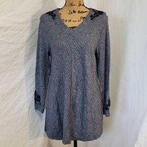 CJ Banks Dress Blue with Embroidery V Neck